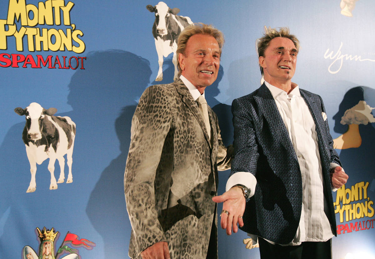 Siegfried Fischbacher, left, and Roy Horn arrive on the red carpet for the opening night of Mon ...