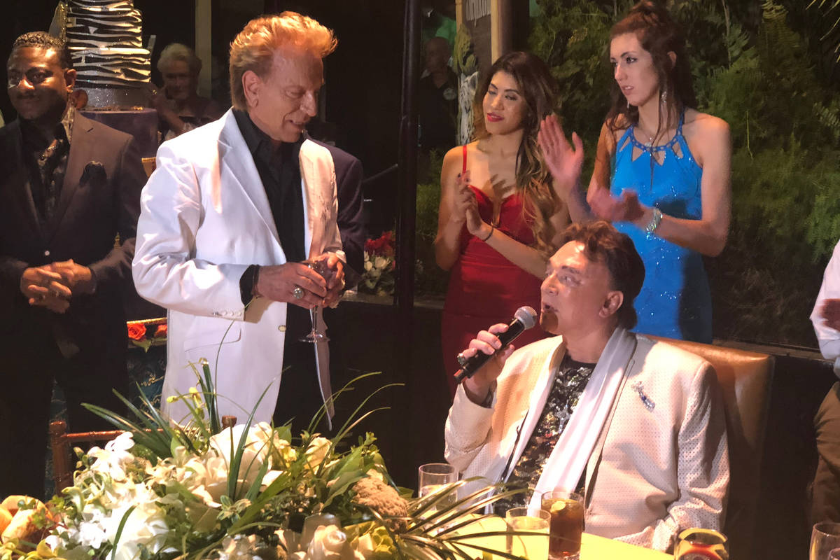 Siegfried Fischbacher, left, and Roy Horn at Roy's birthday party at Siegfried & Roy's Secr ...