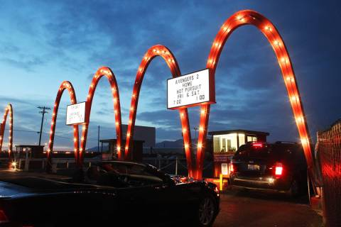 Cars line up for admission at the West Wind Drive-In Tuesday, May 12, 2015. (Sam Morris/Las Veg ...