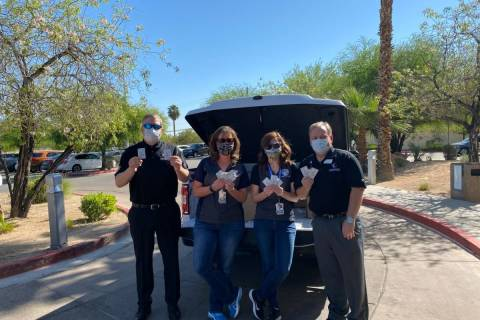 Comprehensive Cancer Centers of Nevada donated 10,000 sunscreen packets to the Cashman Isolatio ...