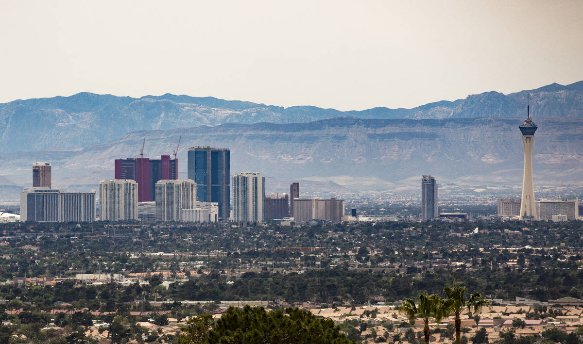 The north end of the Strip seen from the East Side in Las Vegas, Sunday, April 26, 2020. (Rache ...
