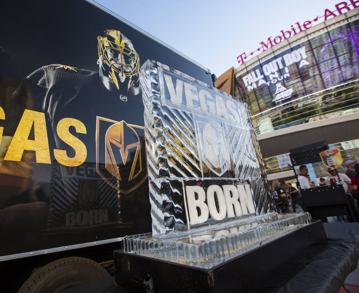 A Golden Knights ice sculpture on display at Toshiba Plaza before Game 1 of an NHL hockey secon ...
