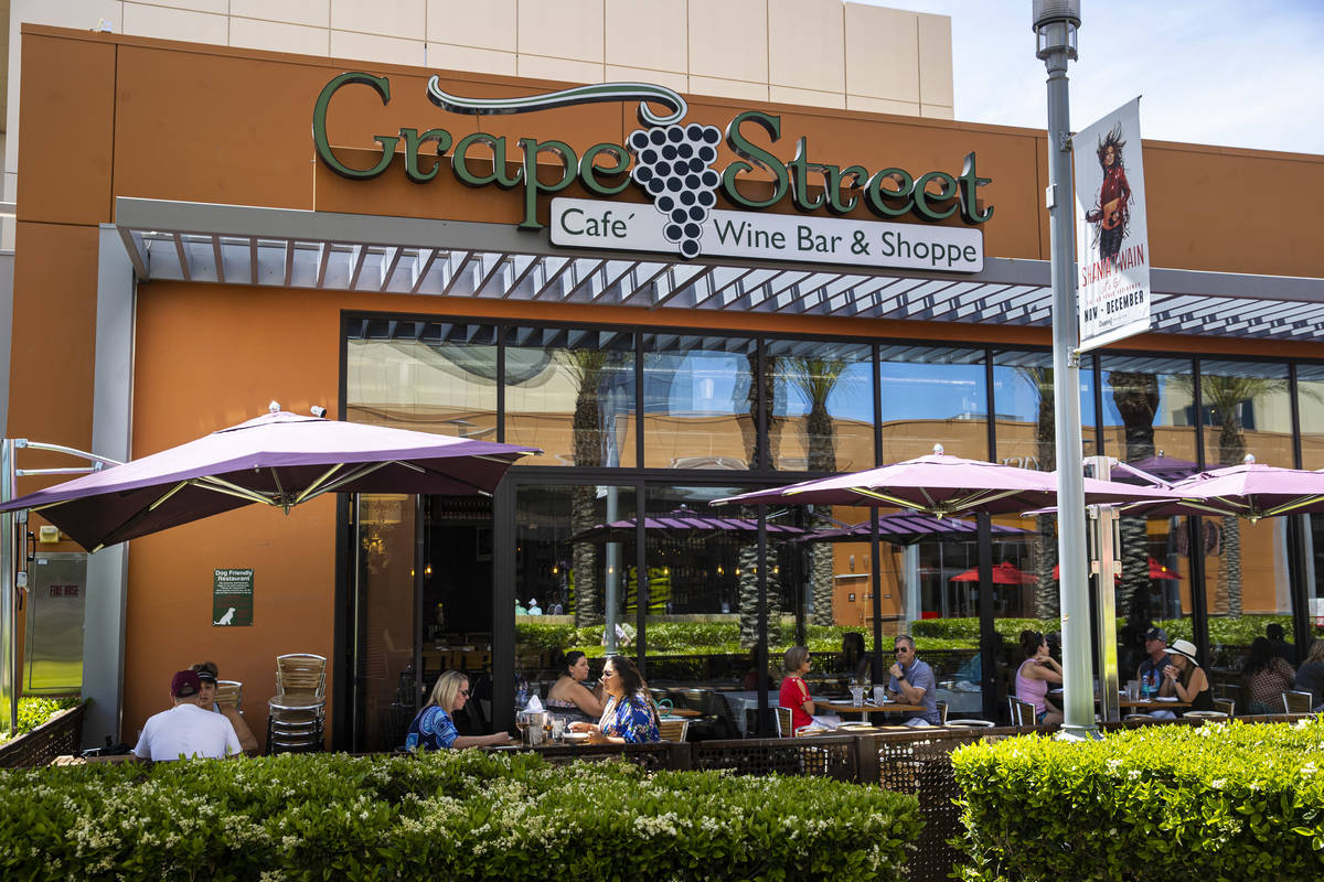 People dine at Grape Street as some restaurants open for table-service at Downtown Summerlin in ...