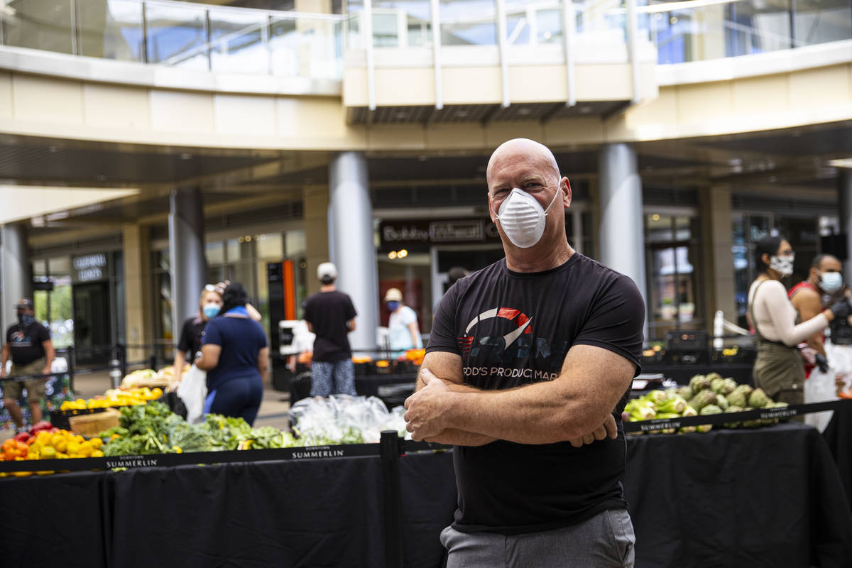 Rod Huebert, owner of the Las Vegas Farmers Market, poses for a portrait at Downtown Summerlin ...