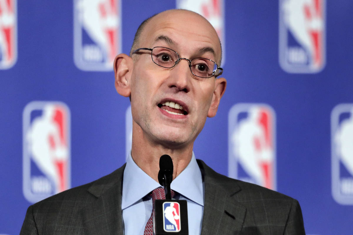 In this Sept. 28, 2017 file photo, NBA Commissioner Adam Silver speaks during a news conference ...
