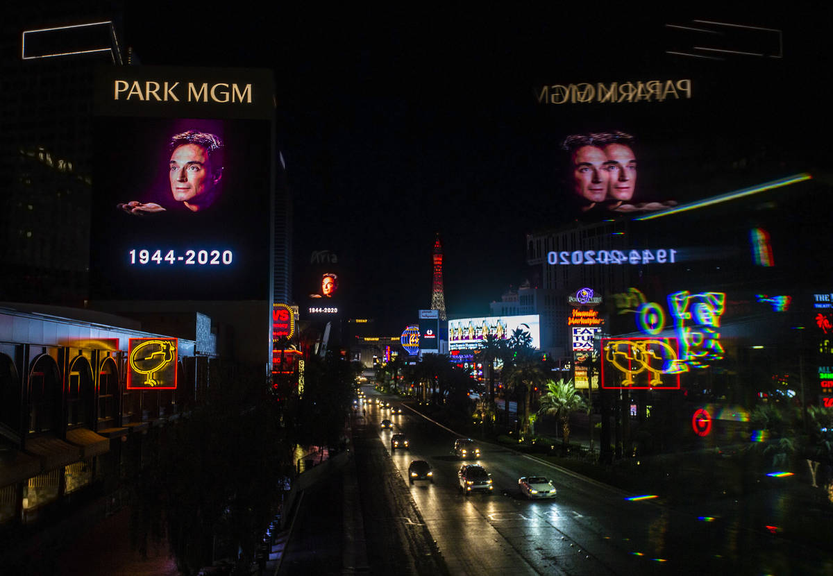 Tributes to Roy Horn, of Siegfried & Roy, are displayed along The Strip on Friday, May 8, 2020, ...