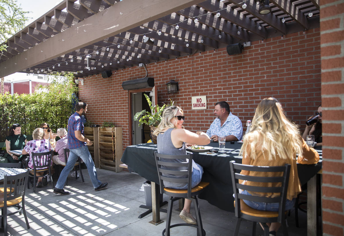 Guests enjoy brunch at 7th & Carson in Las Vegas, Sunday, May 10, 2020. Restaurants hosted ...