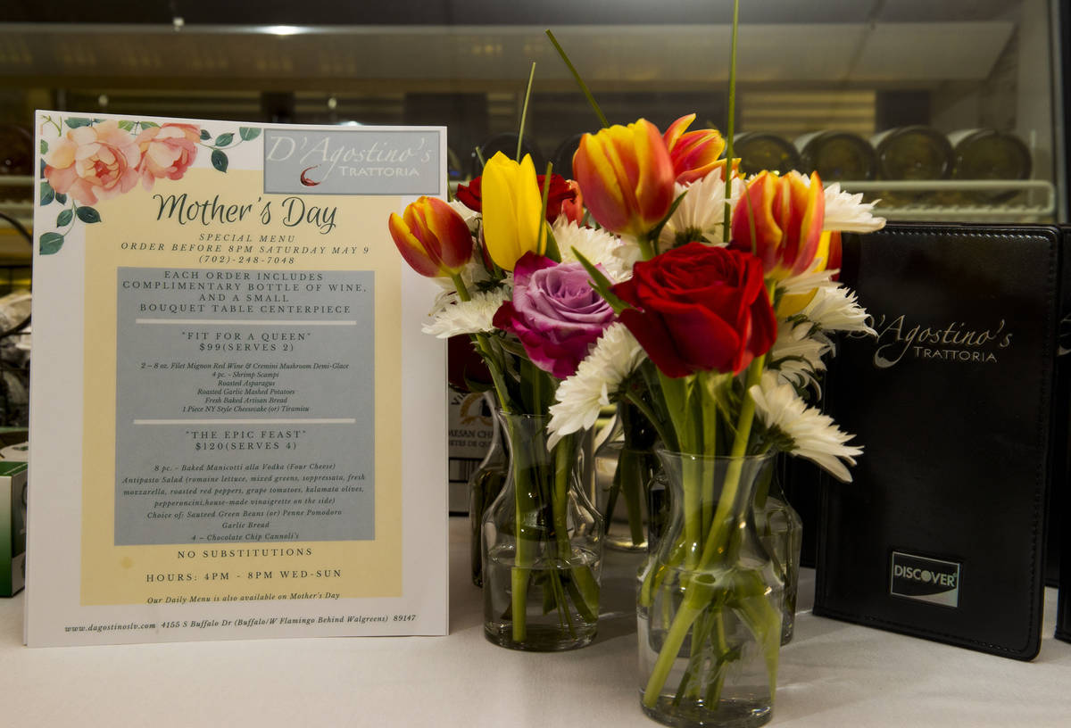 Diners can choose from a special menu for their Mother's Day meals at D'Agostino's Trattoria on ...