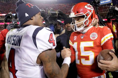 Kansas City Chiefs quarterback Patrick Mahomes, right, and Houston Texans quarterback Deshaun W ...