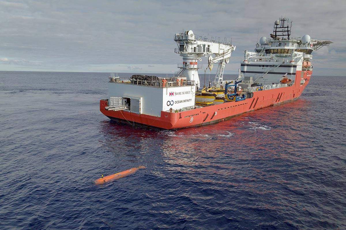 Launching an AUV from an Ocean Infinity vessel. Capable of working in the deepest, darkest and ...