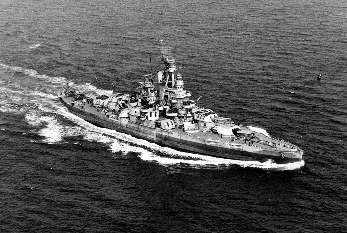 The USS Nevada underway off the Atlantic Ocean coast on Sept. 17, 1944, photographed from a bli ...