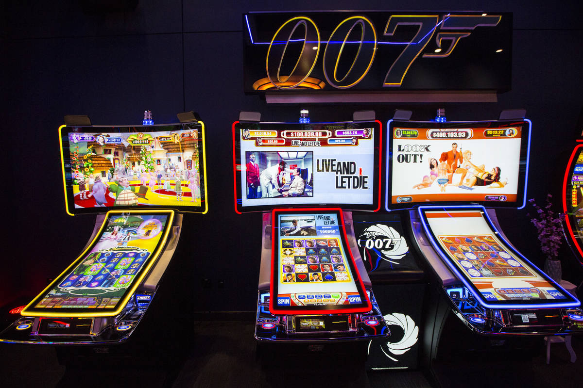 A pair of James Bond-themed slot cabinets are seen in the Scientific Games showroom in Las Vega ...