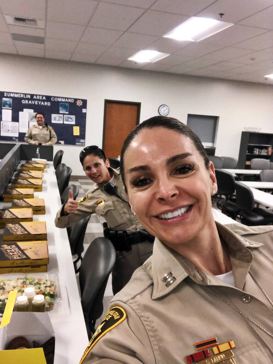 Las Vegas Metropolitan Police Department's Summerlin Area Command workers were treated to pizza ...