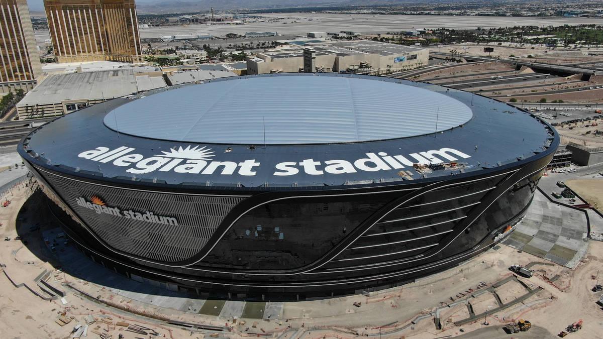 Aerial view of Allegiant Stadium with roof logo on Friday, May 8, 2020. (Michael Quine/Las Vega ...