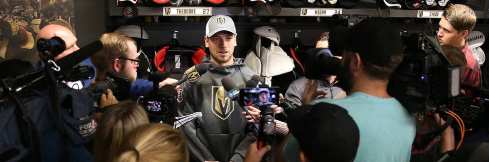 Golden Knights defenseman Shea Theodore speaks to reporters at City National Arena on Sept. 13, ...