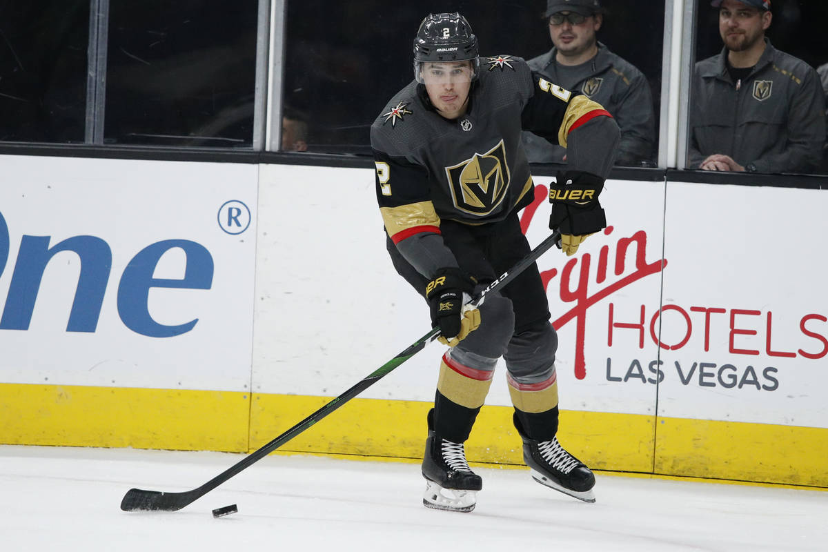 Vegas Golden Knights' Zach Whitecloud plays against the New Jersey Devils during an NHL hockey ...