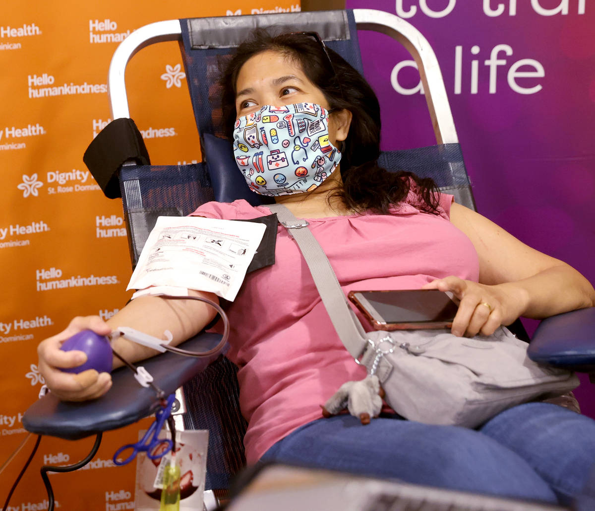 Lorena Guardian, 52, of Las Vegas donates plasma at St. Rose Dominican Hospital, Siena campus i ...