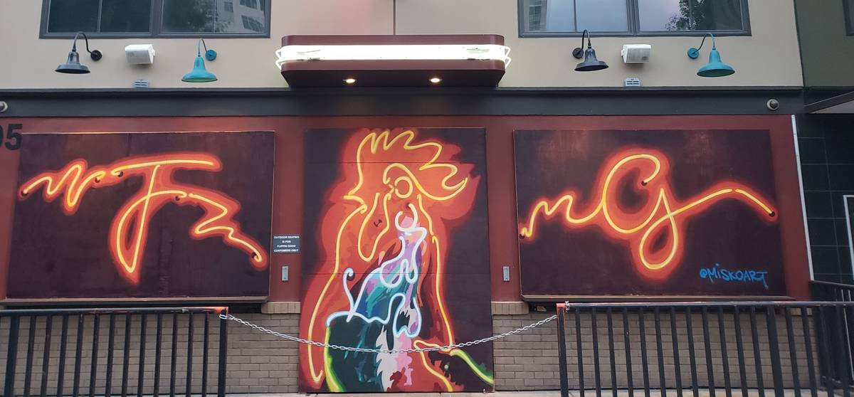 Jerry Misko completed seven murals in Las Vegas, including this one for Flippin' Good Chicken, ...