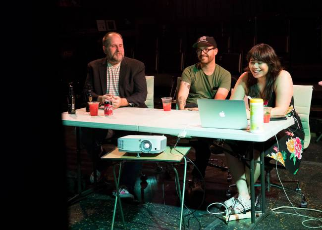 Troy Heard, founding artistic director of Majestic Repertory Theatre, from left, talks with ens ...