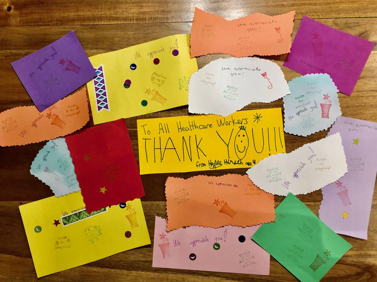Nine-year-old Haylee Hirsch made more than 100 greetings cards for nurses.