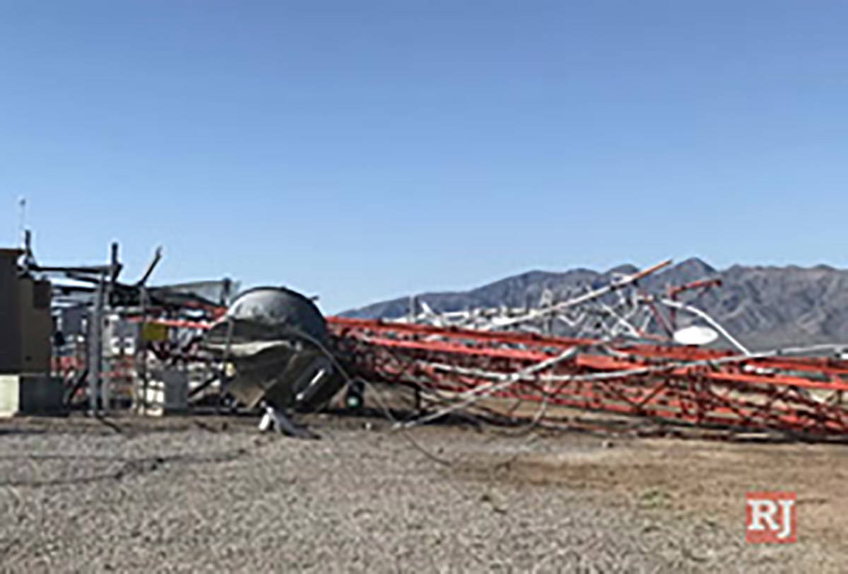 A downed cellphone tower in Pahrump, Nev., on May 7, 2020. (Nye County Sheriff's Office)