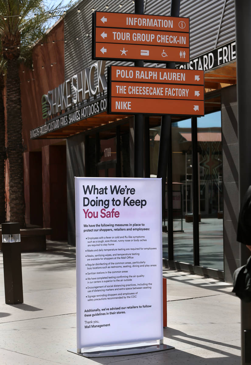 One of the many customer information signs now installed throughout the Las Vegas North Premium ...