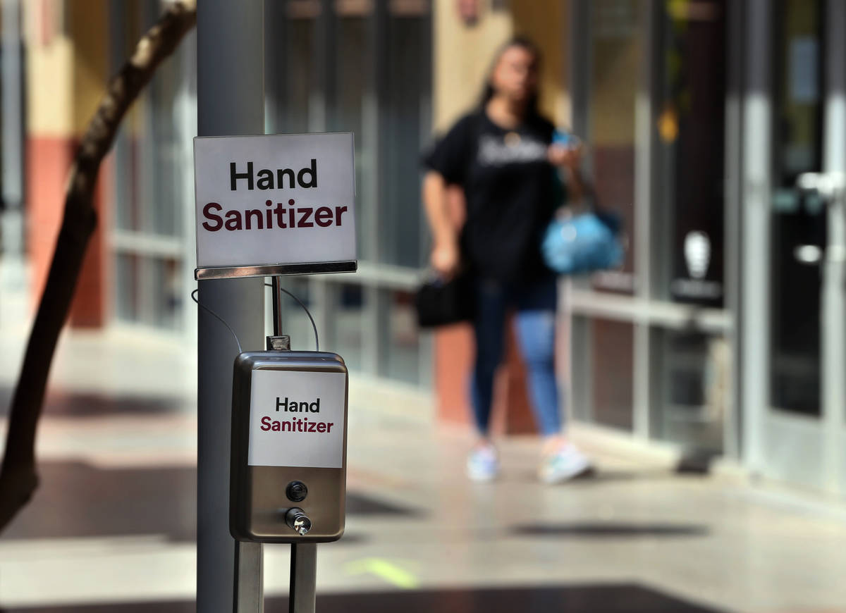 Hand sanitizer stations are now installed throughout the Las Vegas North Premium Outlets as see ...