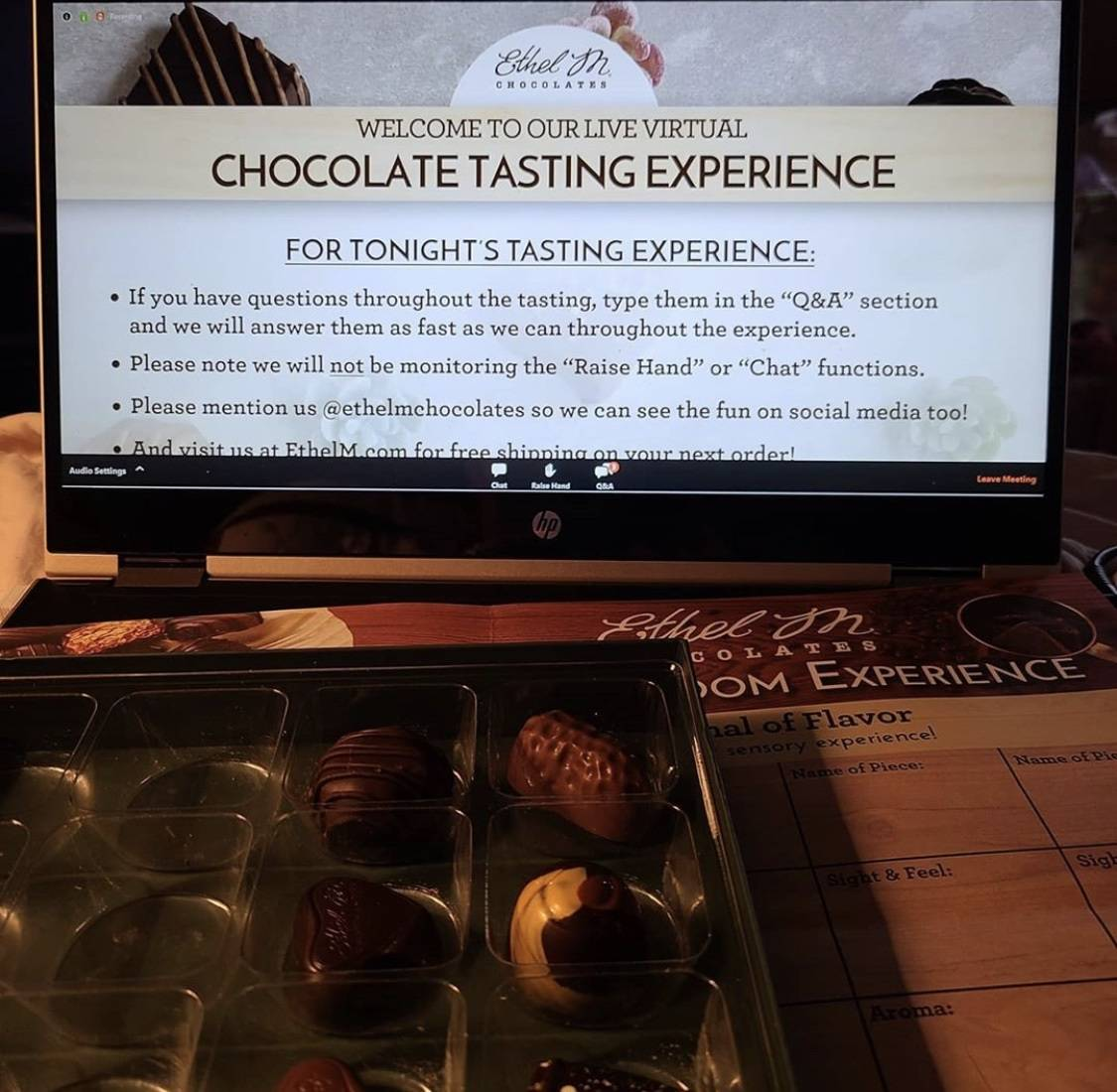 The virtual tastings are conducted on Zoom. (Ethel M Chocolates)