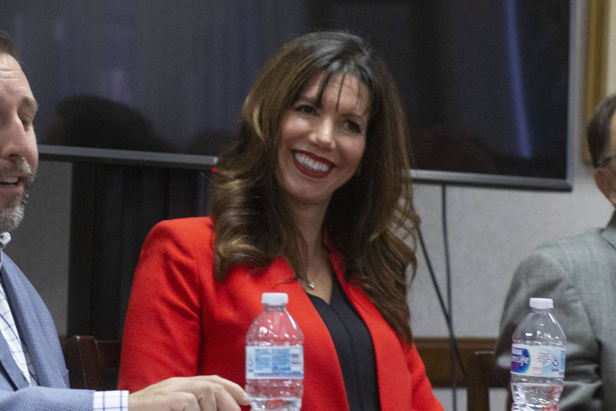 UNLV athletic director Desiree Reed-Francois partakes in a panel discussion regarding the effec ...
