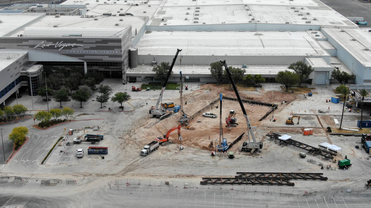 Work continues on the underground Station 2 beneath the Silver Lot at the Las Vegas Convention ...