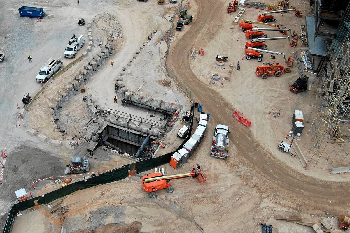Aerial view of the west entrance to the People Mover at Las Vegas Convention Center expansion a ...