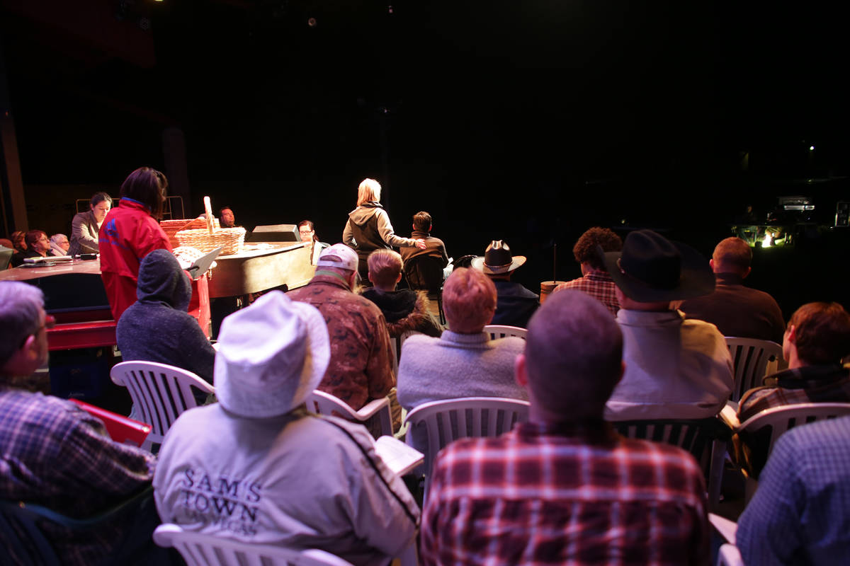 The cast performs at the Oklahoma! rehearsal at the Super Summer Theatre at Spring Mountain Ran ...