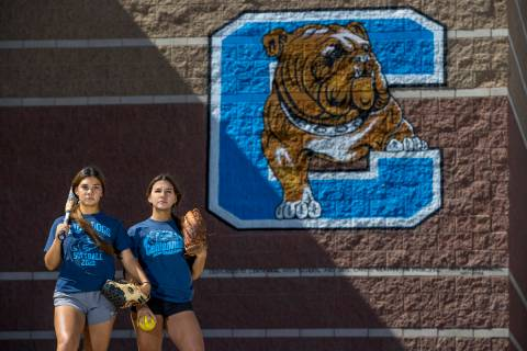 Samantha, left, and Natasha Lawrence as seniors from the Centennial High School softball team w ...