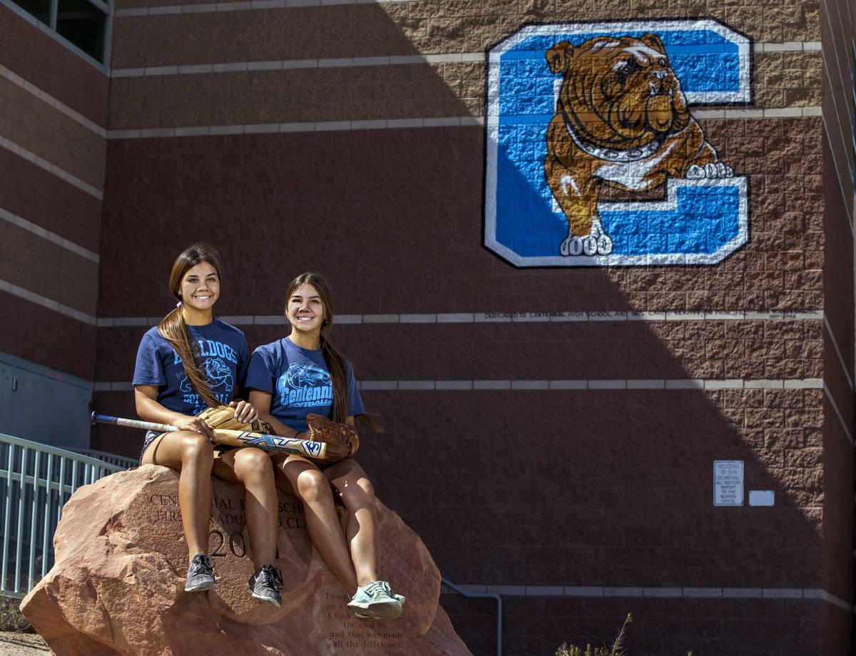 Samantha, left, and Natasha Lawrence as seniors from the Centennial High School softball team w ...