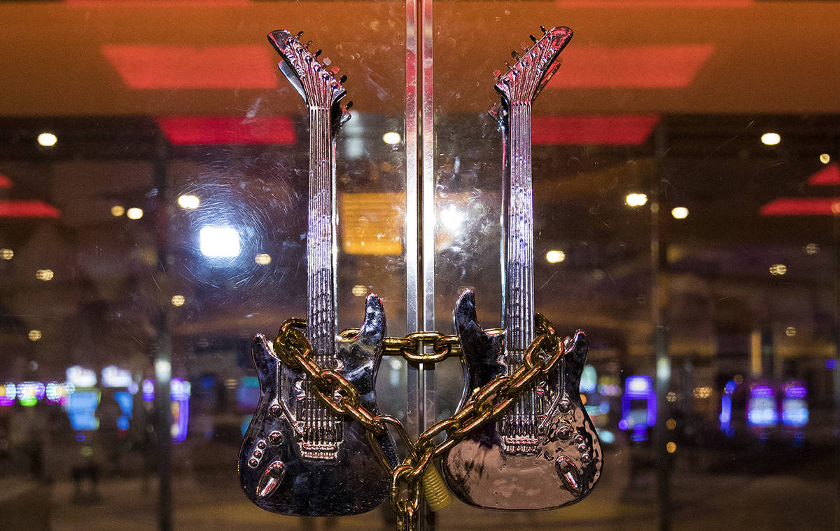 The Hard Rock HotelÕs front doors are chain locked in Las Vegas, Monday, Feb. 3, 2020. The ...