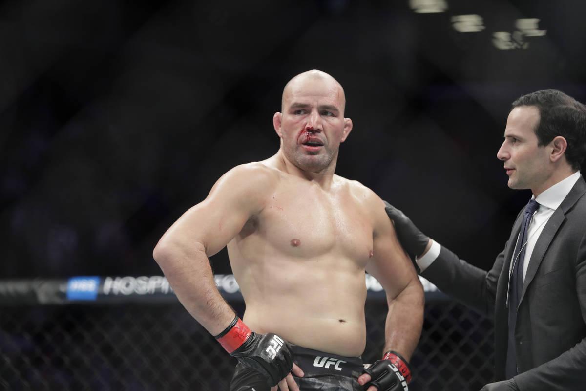 Glover Teixeira after a light heavyweight mixed martial arts bout against Karl Roberson at UFC ...