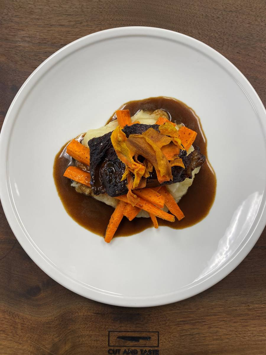 Beef short ribs with potato puree and heirloom carrots. (Cut and Taste)