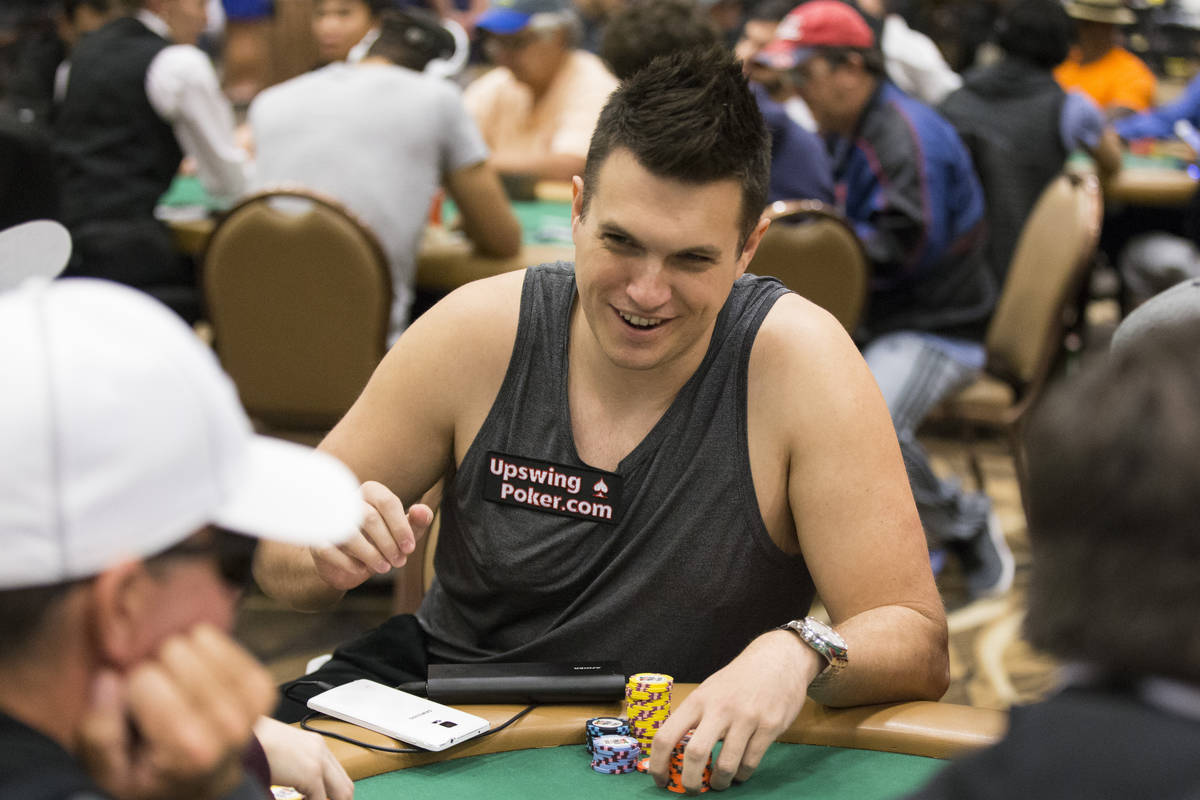 Professional poker player Doug Polk plays during a World Series of Poker tournament at the Rio ...