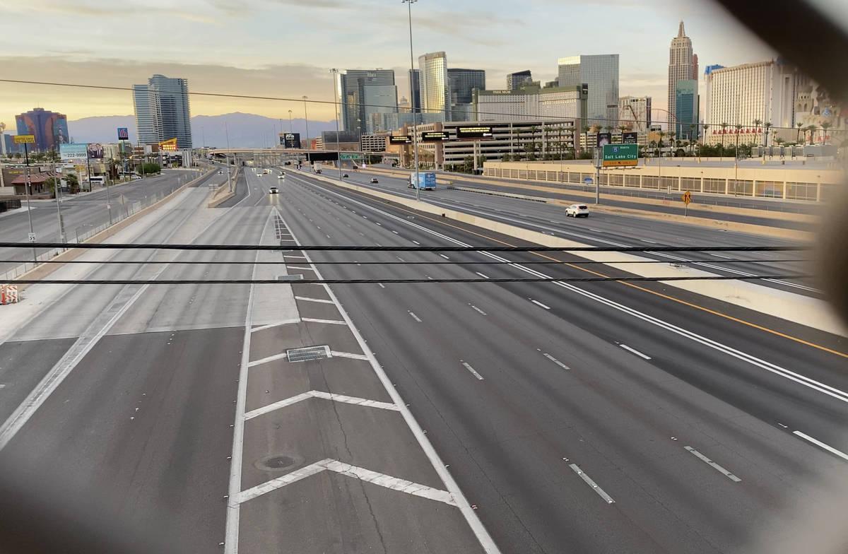 Light traffic seen on Interstate 15 in the Resort Corridor on May 6, 2020. (Mick Akers/Las Vega ...