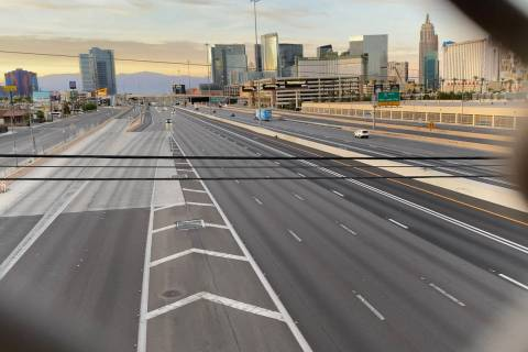 Light traffic seen on Interstate 15 in the Resort Corridor on May 6, 2020. (Mick Akers/Las Vega ...