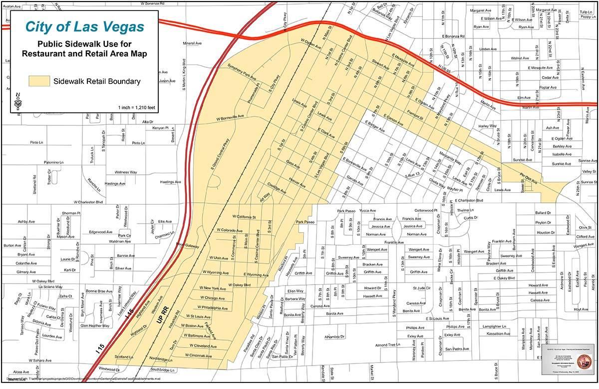 Downtown Las Vegas sidewalk dining area map. (City of Las Vegas)