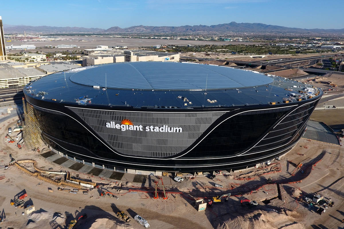 Aerial view of Allegiant Stadium with completed roof panel installation on Friday, April 24, 20 ...
