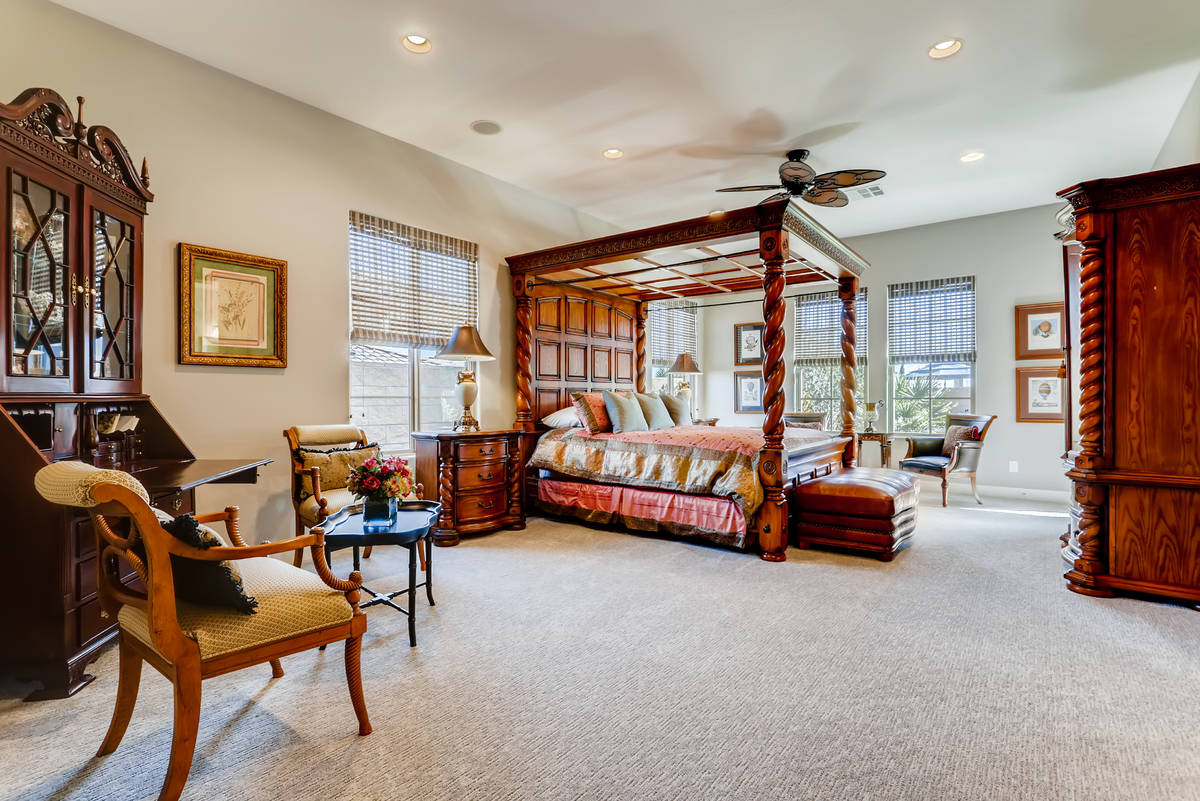 Realty One Group The 4,119-square-foot home features a large master bedroom with a setting area.
