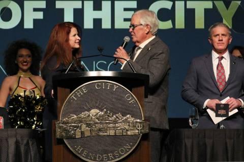 Henderson Mayor Debra March, left, listens as Golden Knights owner Bill Foley speaks as team pr ...