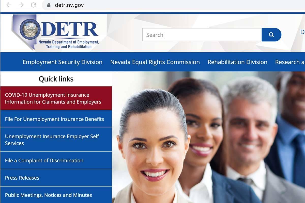 The Nevada unemployment website (DETR).