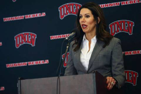 UNLV athletic director Desiree Reed-Francois talks about the search for a new basketball head c ...