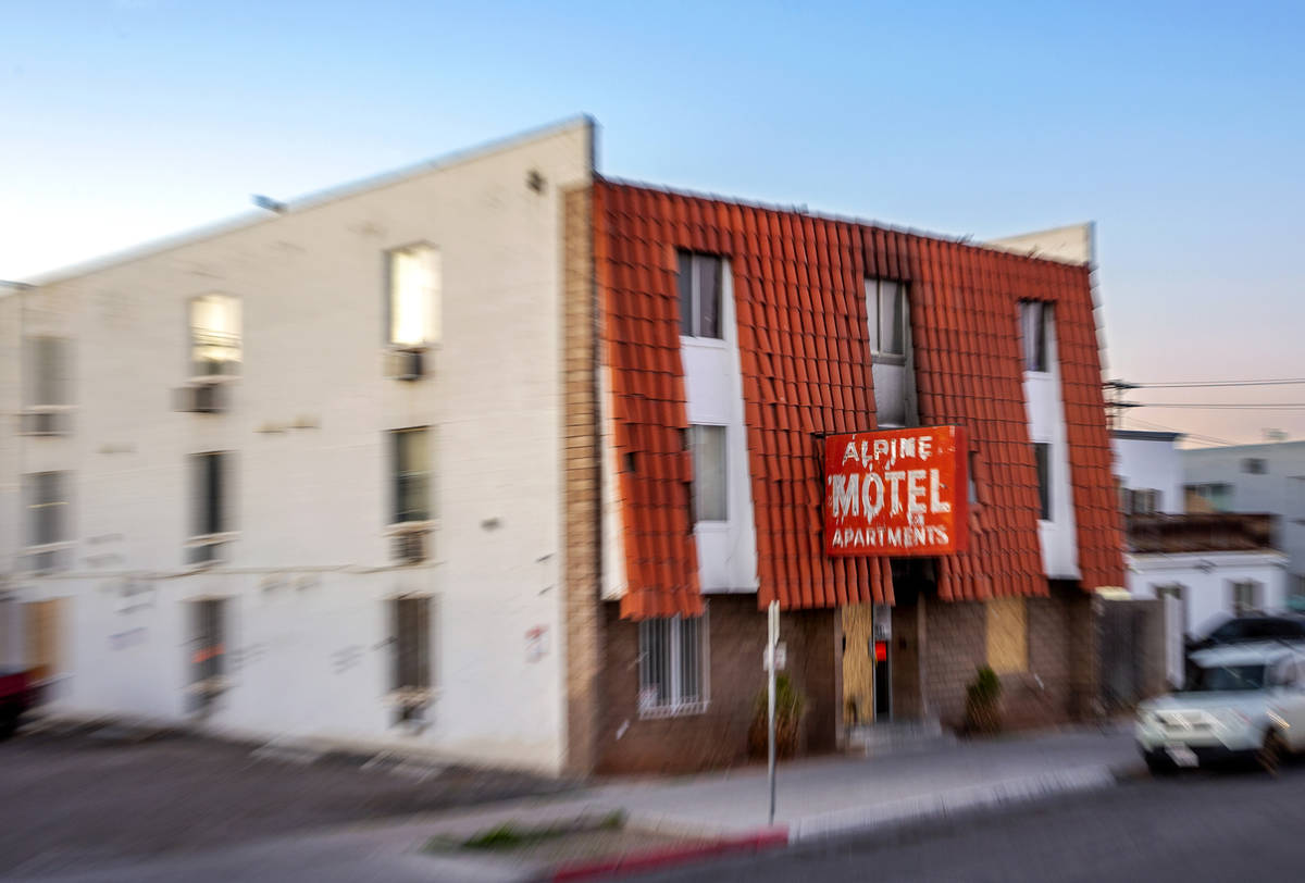 The exterior of the Alpine Motel Apartments on Wednesday, Feb. 12, 2020, in Las Vegas. (L.E. Ba ...