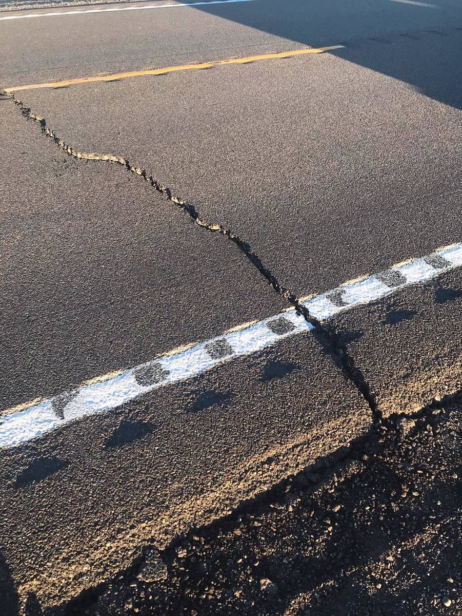 Cracks on U.S. 95 west of Tonopah caused by a 6.5-magnitude earthquake on Friday, May 15, 2020. ...