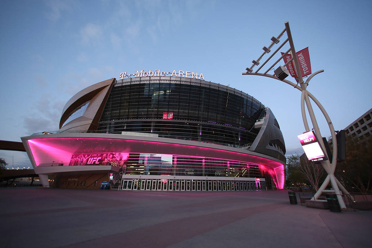 T-Mobile Arena is seen following Gov. Steve Sisolak's statewide order that non-essential busine ...