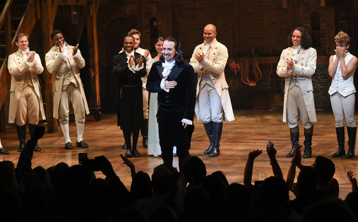 "Actor and ""Hamilton"" creator Lin-Manuel Miranda takes his final performance curtain c ..."